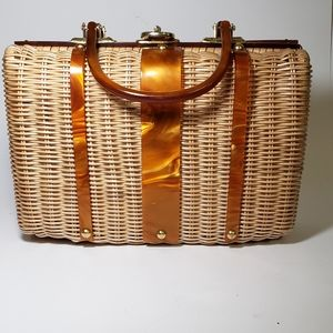 Vintage Wicker and Lucite Handbag Purse 1950s?